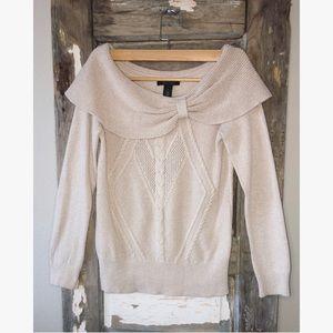WHBM Cowl Sweater Cream Color Small